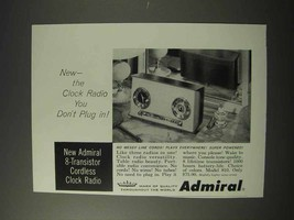 1958 Admiral 8-Transistor Cordless Clock Radio 810 Ad - $14.99