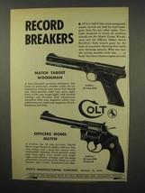 1955 Colt Match Target Woodsman; Officers Match Gun Ad - $14.99