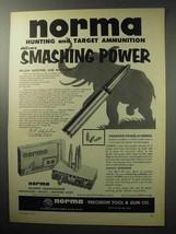 1955 Norma .30-06 Ammunition Ad - Smashing Power - $14.99