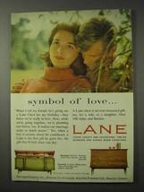 1958 Lane Serenade, Pyramid Chests Ad - Symbol of Love - $14.99