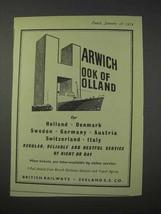 1959 British Railways Ad - Harwich Hook of Holland - $14.99