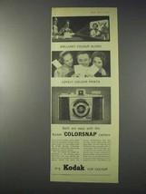 1959 Kodak Colorsnap Camera Ad - Brilliant Slides - $14.99