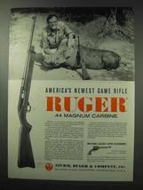 1962 Ruger .44 Magnum Carbine Ad - Game Rifle - $14.99