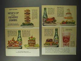 1963 7-Up Seven-Up Soda Ad - With Festive Foods! - $14.99