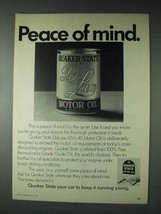 1973 Quaker State DeLuxe 10W-40 Motor Oil Ad - Peace - $14.99