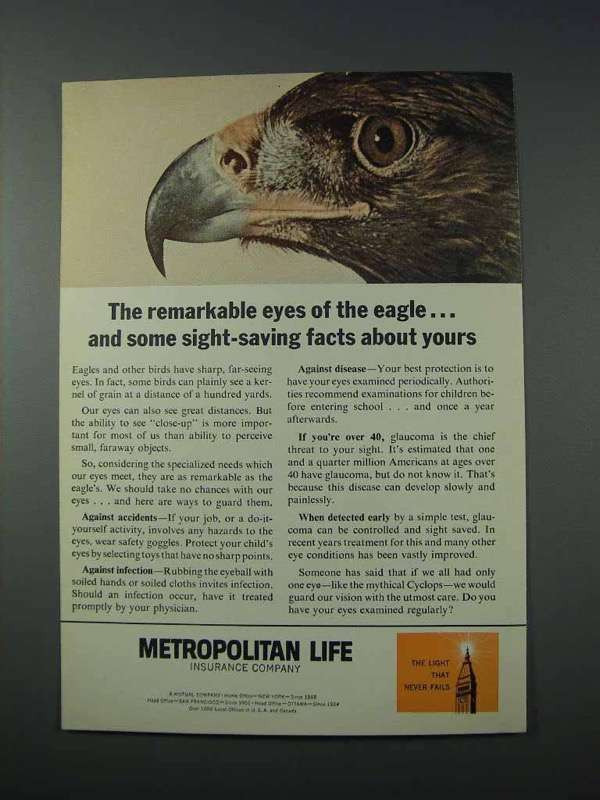 1963 Metropolitan Life Insurance Ad - Eyes of the Eagle