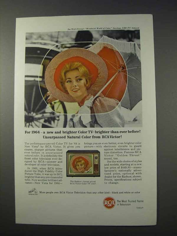 1963 RCA Radnor Television Ad - New Brighter Color