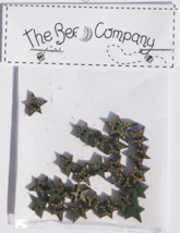 Green Mini Star Buttons 25pcs wooden button cross stitch The Bee Company  - $4.00