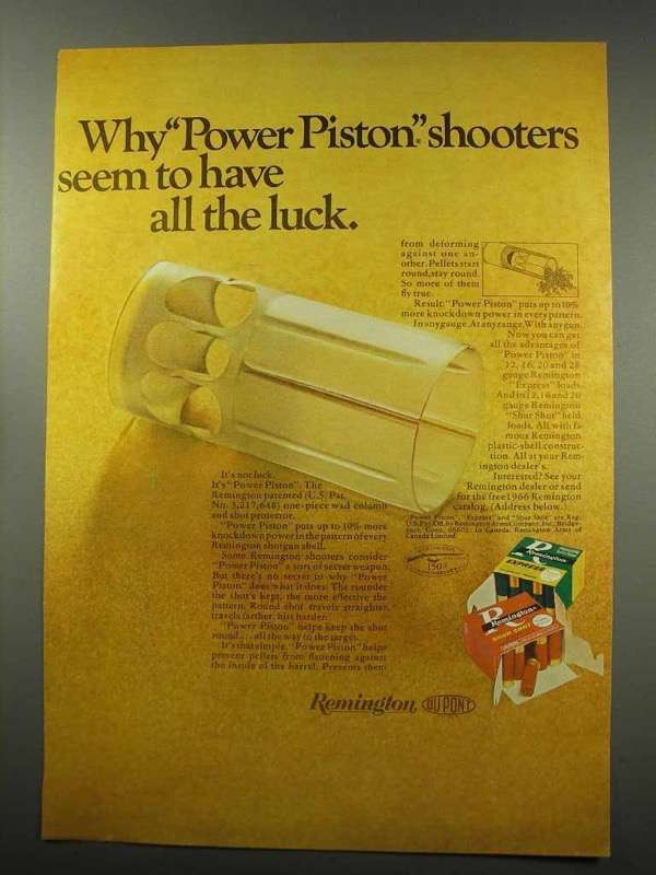 1966 Remington Power-Piston Wads Ad - All The Luck - $14.99