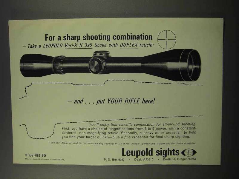 Primary image for 1967 Leupold Vari-X II 3x9 Scope Ad - Sharp Shooting