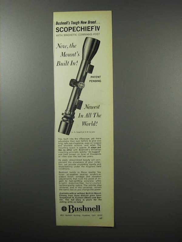 Primary image for 1968 Bushnell Scopechief IV Scope Ad - Mount's Built-in