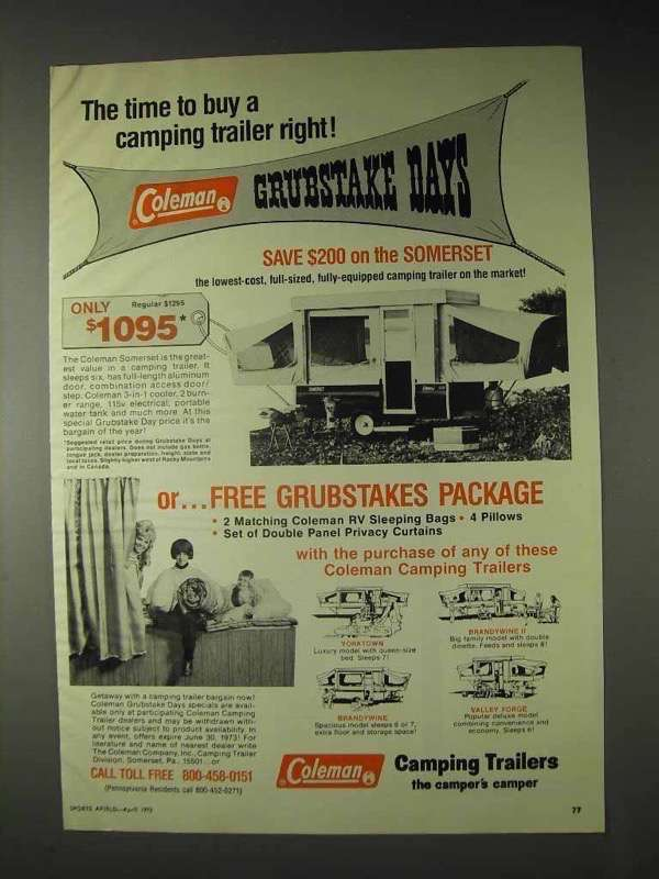 1973 Coleman Somerset Camping Trailer Ad - Time to Buy - $14.99