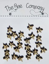 Gold Mini Star Buttons 25pcs wooden button cross stitch The Bee Company  - $4.00