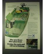 1970 Sears Ted Williams Jonfisher Boat Ad - Fiber Glass - $14.99
