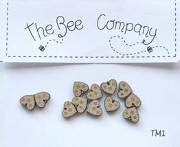 Linen Mini Heart Buttons 12 pcs wooden buttons cross stitch The Bee Company  - $4.00