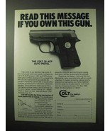 1984 Colt 25 ACP Auto Pistol Ad - Read this Message - $14.99