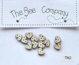 Cream Mini Heart Buttons 12 pcs wooden buttons cross stitch The Bee Company  - $4.00