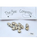 Cream Mini Heart Buttons 12 pcs wooden buttons cross stitch The Bee Comp... - $4.00