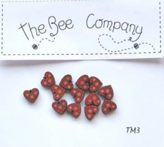 Red Mini Heart Buttons 12 pcs wooden buttons cross stitch The Bee Company  - $4.00