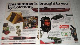 1983 Coleman Ad - Odyssey Tent, Canoe, Lanterns, Stove - $14.99