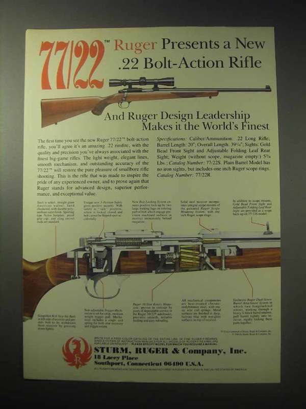 1985 Ruger 77/22 Rifle Ad - A New .22 Bolt-Action Rifle - $14.99
