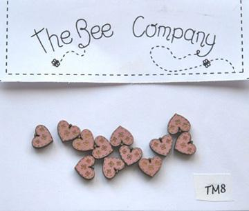 Pink Mini Heart Buttons 12 pcs wooden buttons cross stitch The Bee Company  - $4.00