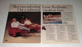 1985 Lane Recliners Ad - Get a Relaxing Vacation - $14.99