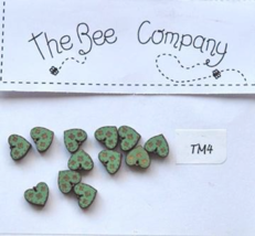 Green Mini Heart Buttons 12 pcs wooden buttons cross stitch The Bee Company  - $4.00