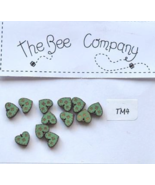 Green Mini Heart Buttons 12 pcs wooden buttons cross stitch The Bee Comp... - $4.00