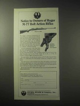 1985 Ruger M-77 Rifle Ad - Notice to Owners Of - $14.99