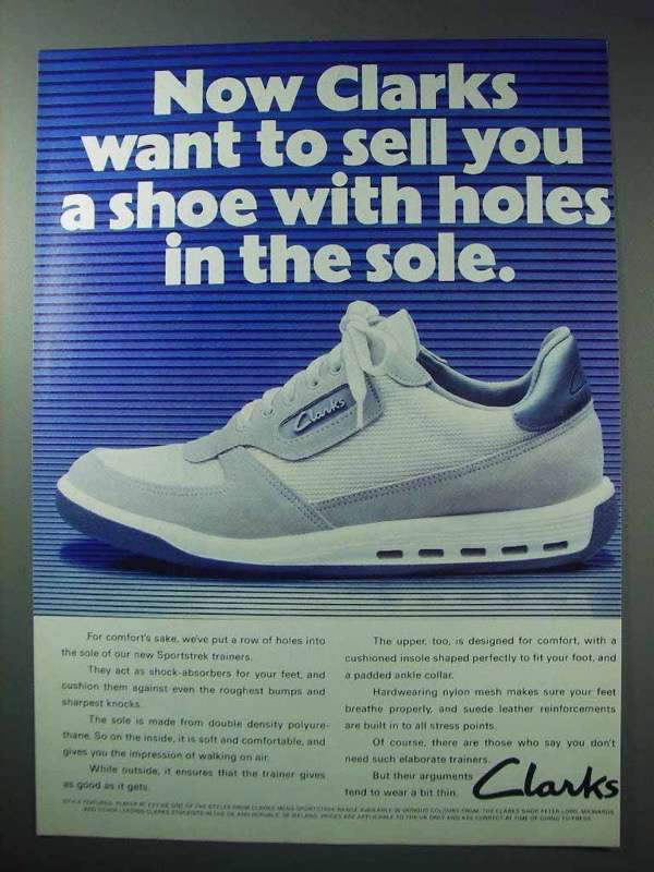 1986 Clarks Sportstrek Trainers Ad - Holes in the Sole