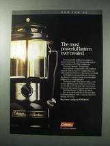 1986 Coleman Powerhouse Lantern Ad - Most Powerful - $14.99