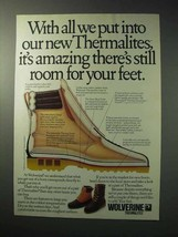 1986 Wolverine Thermalite Boots Ad - Room for Feet - $14.99