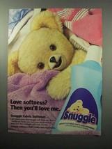 1987 Snuggle Fabric Softener Ad - Love Softness? - $14.99