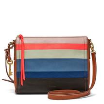 Fossil Emma EW Bright Stripe Leather Zipper Closure Back Slide Pocket Cr... - $279.99