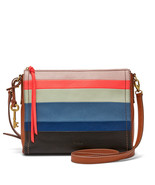 Fossil Emma EW Bright Stripe Leather Zipper Closure Back Slide Pocket Cr... - £206.35 GBP