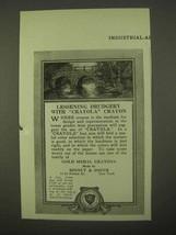 1922 Binney & Smith Crayola Crayons Ad - Drudgery - $14.99