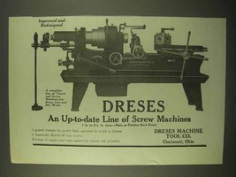1922 Dreses Screw Machines Ad - Improved Redesigned - $14.99