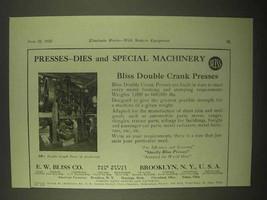 1922 E.W. Bliss Double Crank Presses Ad - $14.99