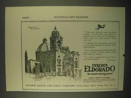 1922 Dixon's Eldorado Drawing Pencil Ad, Spanish Church - $14.99