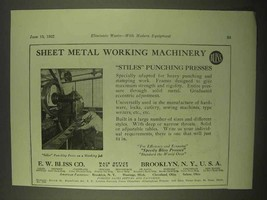 1922 E.W. Bliss Stiles Punching Presses Ad - $14.99