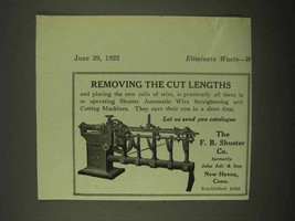 1922 F.B. Shuster Automatic Wire Straightening Ad - $14.99