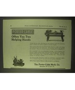 1922 Porter-Cable Toolroom Lathe, Production Lathe Ad - $14.99