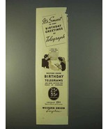 1936 Western Union Ad - Send Birthday Greetings - $14.99