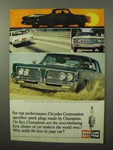 1964 Champion Spark Plugs Ad - Chrysler Corporation - $14.99