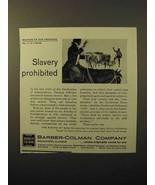 1964 Barber-Colman Company Ad - Slavery Prohibited - $14.99