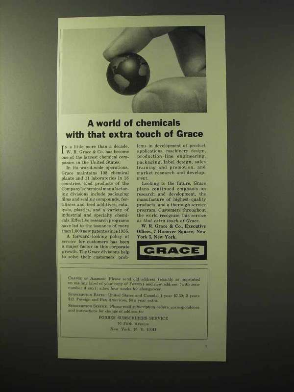 Primary image for 1964 Grace Chemicals Ad - With That Extra Touch