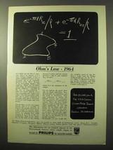 1964 Philips Research Laboratories Ad - Ohm's Law - $14.99