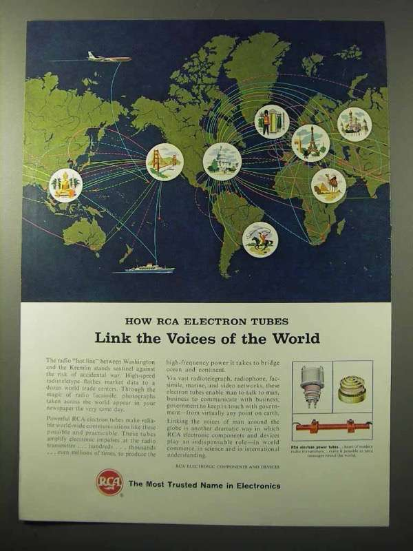 1964 RCA Electron Power Tubes Ad - Link Voices of World