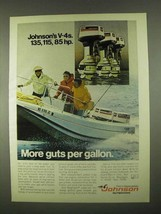 1974 Johnson V-4 135, 115, and 85 Outboard Motors Ad - $14.99